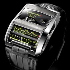 Modeled after an early Patek Philippe prototype that never made it to production, the CC1 King Cobra closely resembles the dashboard of an old American automobile. It features completely linear gauges that display the hour and minute, and the finishing of this watch is world class. While Urwerk's other watches may get a lot of attention, the CC1 is a true luxury watch.