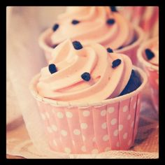 #cupcakes #muffins #cupcakeformer #pink #chocolate #frosting #partydesign #dots #pastel #cute