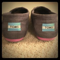 Grey Corduroy TOMS Classic grey corduroy TOMS with pink soles.  Great condition, wore maybe 5 times. TOMS Shoes Flats & Loafers