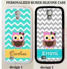 PERSONALIZED GREY TEAL CHEVRON PINK OWL MONOGRAM Case For Samsung Galaxy S7 S6 5 #UnbrandedGeneric