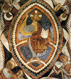 fresco 12th_century_unknown_painters_-_Christ_Pantocrator_-_Panteon de los Reyes, Colegiate de Son Isidor, Leon