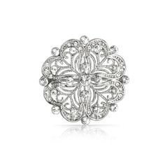 Vintage Style CZ Flower Pin Heart Brooch Rhodium Plated - - Home, Brooches & Pins Scarf Jewelry, Bling Jewelry, Wedding Jewelry, Vintage Jewelry, Pandora Jewelry, Wedding Shoes, Antique Jewelry, Jewellery, Clover Flower