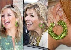 Nice green earring - a hoop earring covered with green peridot beads