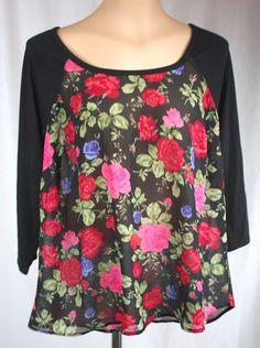 Torrid Women's Black Floral Shear Body 3/4 Sleeve Varied Hem Top Torrid Size 0 #Torrid #KnitTop #Versatile
