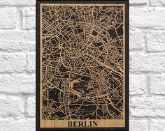 WOOD MAP print Wood wall art, Travel Germany Berlin city map Rustic panel effect Berlin art print on wood Rustic map of Berlin wood print by Woodprintz on Etsy