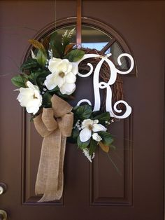Monogram Magnolia Wreath Spring Wreath Summer Wreath by Flowenka