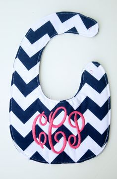Personalized bib, Monogrammed bib, Baby shower gift, Seersucker bib, You Customize (ON SALE for a LIMITED time). $15.00, via Etsy.