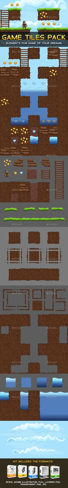 Game Tiles Pack - #Tilesets #Game #Assets Download here: https://graphicriver.net/item/game-tiles-pack/20408371?ref=alena994