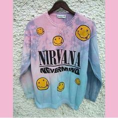 pastel pastel sweater kawaii kawaii sweater kawaii grunge grunge grunge sweater pullover sweatshirt band nirvana nirvana sweater hipster oversized sweater pink blue ombre sweater ombre tie dye sweater pullover indie punk music band sweater nirvana nevermind