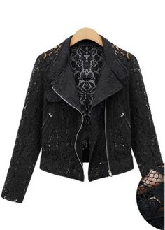 Bestselling Zip Closure Turndown Collar Black Lace Jackets with cheap wholesale price, buy Bestselling Zip Closure Turndown Collar Black Lace Jackets at wholesaleitonline.com !
