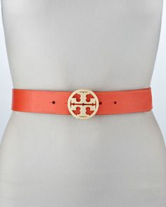 Classic Pebbled Leather Logo Belt, Poppy Red by Tory Burch at Bergdorf Goodman.