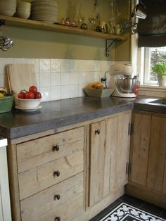 Light wood with concrete countertops. Farmhouse Style Kitchen, Kitchen Redo, Kitchen Styling, Rustic Kitchen, Country Kitchen, New Kitchen, Kitchen Dining, Kitchen Remodel, Pallet Kitchen Cabinets