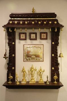 Discover beautiful pooja room designs in wood for your living room, bedroom and hall. These pooja room designs in wood are apt for flats and apartments. Temple Room, Home Temple, Design Seeds, Living Room Paint, My Living Room, Temple Design For Home, Mandir Design, Pooja Mandir, Pooja Room Door Design
