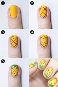 26 DIY Nail Designs with Tutorials for Beginners Nail Shapes nail art tutorials - Nail Art Summery Nails, Simple Nails, Trendy Nails, Cute Nails, Nail Art Designs, Nails Design, Fruit Nail Designs, Pineapple Nails, Pineapple Art