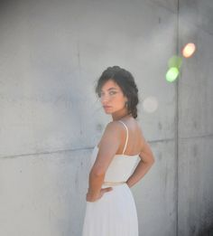 Strapless wedding dress with spaghetti stripe and lace by Barzelai, $290.00