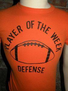 Vtg 50s 60s Champion Running Man Era Orange Football T Shirt  Playeroftheweek Med  6064d3d14