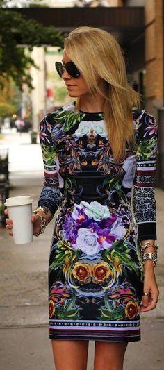 #street #style black dress + floral print @wachabuy