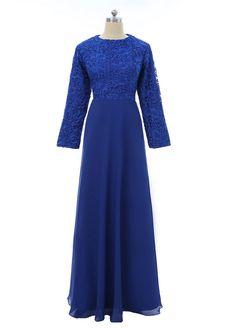 Royal Blue Muslim Evening Dresses A-line Long Sleeves Chiffon Lace Islamic Dubai Abaya Kaftan Long Evening Gown Prom Dress Muslim Evening Dresses, Prom Dresses, Wedding Abaya, Different Fabrics, Party Dress, Fashion Dresses, Elegant, Womens Fashion, Abayas