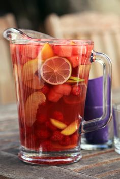 Vibrantly Sip Summer With a Watermelon Sangria - I'm not sure I have words for this Sangria, ok one word YUM!!  And this would be perfect in your Family Size (or I love Sangria size, Gal)  With plunger, dishwasher safe.  #2274  $24.50.  www.pamperedchef.biz/kimdeetman