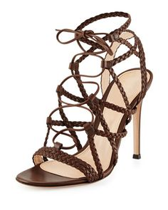 Braided Leather Lace-Up Sandal, Medium Brown by Gianvito Rossi at Bergdorf Goodman.