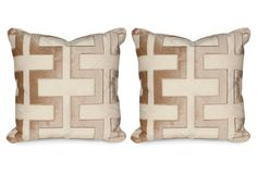 "S/2 Carioca 20x20 Pillows, Travertine  Set of 2 Made of: cover, Indian linen/silk; embroidery, cotton/viscose; insert, microdenier fiber encased in a channeled downproof ticking Made in: USA Size: 19.5""L x 19.5""W Color: travertine"