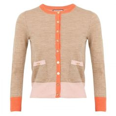 Juicy Couture Colour block cardigan ($185) ❤ liked on Polyvore featuring tops, cardigans, sweaters, jackets, coral, colorblock top, colorblock cardigan, beige cardigan, long sleeve cardigan and color block top