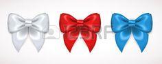 noeuds ruban: Ensemble de soie Bow. Vector Illustration. Blanc, rouge et bleu pour la conception des arcs cadeaux, cartes d'invitation décoratif, Bon Design Invitation de vacances de conception.