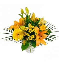 A vibrant mix of golden favourites including lilies, roses and chrysanthemums makes for a stunning gift for a loved one for any occasion.