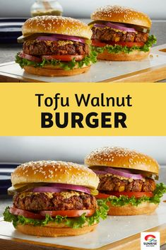 This Tofu Walnut Burger is packed with healthy veggies & delicious flavours. It's a must-try masterpiece. Raw Vegan Recipes, Tofu Recipes, Burger Recipes, Vegan Foods, Vegan Vegetarian, Vegan Ideas, Tofu Burger, Tofu Sandwich, Kitchens