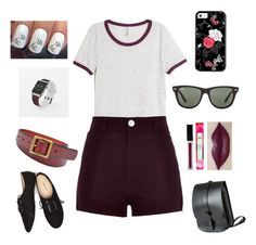 """Maroon and black"" by alicia-brockett ❤ liked on Polyvore featuring H&M, River Island, Casetify, FOSSIL, Wet Seal, Ray-Ban and Lost Property of London"