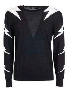 Neil Barrett Lightning Bolt-intarsia Wool-blend Sweater In 042 Black Off White