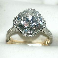Vintage 3.50 carat diamond engagement ring set in 14k yellow gold  www.gemsecrets.com