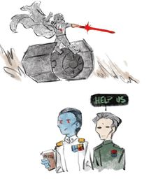 The best part of this is that Thrawn's coffee cup appears to have his full name on it.
