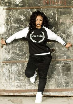 Swag. Dope. UOENO Jumper. Black Sweatpants. Air Forces. Urban Outfit. Sneakers Outfit. Hip Hop Outfit. India Westbrooks #hiphopoutfits