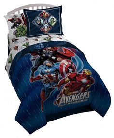 Comforter Set For Boys & Kids Captain America Iron Man Thor Hulk Full Reversible #Marvel