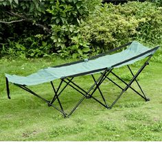 Outsunny Deluxe Folding Camping Cot w/ Carrying Bag - Green