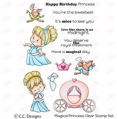"""CC Designs """"Magical Princess"""" Clear Stamp SIZE: x Clear Photopolymer. A sweet little princess. Coordinates with Magical Princess Outline Die. Happy Birthday Princess, Free Cards, Card Tricks, Birthday Gifts For Best Friend, Copics, Crochet For Beginners, Deck Of Cards, Clear Stamps, Little Princess"""