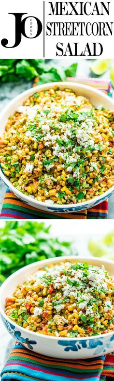 Mexican Street Corn Salad - Jo Cooks This Mexican Street Corn Salad, also known as Esquites, is smoky, spicy, tangy and incredibly delicious. If you love the Mexican corn on the cob then you will love this version. Mexican Appetizers, Mexican Food Recipes, Vegetarian Recipes, Cooking Recipes, Healthy Recipes, Party Appetizers, Halloween Appetizers, Cooking Food, Healthy Snacks