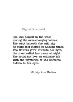 Printable Nature Quotes - Poetry - Nature Lover Decor - She Lost Herself in the Trees Poem - Sizes 5 Poetry Quotes, Me Quotes, Qoutes, Bohemian Quotes, Bohemian Decor, Writers And Poets, Nature Quotes, Pretty Words, Losing Her