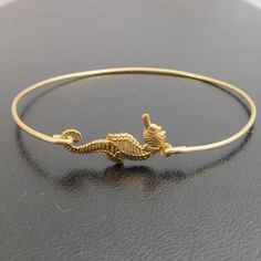 Seahorse Bangle Bracelet, Seahorse Bracelet, Gold, Summer Jewelry, Summer Bracelet, Summer Fashion, Wedding, Beach Jewelry, Beach Bracelet on Etsy, $16.95