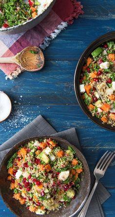 Rezept für Grünkohlsalat mit Quinoa und Süßkartoffeln #Gesund #Salat #Veggie #Vegetarisch
