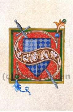 Medieval Illuminated Letter S This is an archival 4 x 6 print of my original artwork, painted in acrylics on goatskin parchment. Medieval, Word Art, Illuminated Manuscript, Painted Initials, Letter Art, Lettering Alphabet, Art, Fine Art Prints, Book Art