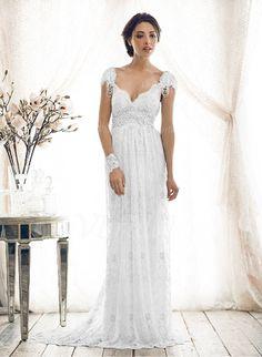 Sheath/Column V-neck Sweep Train Lace Wedding Dress With Beading Bow(s) (0025055895) - Vbridal