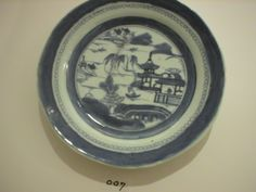 From the Archives of Chatham Historical Society: Blue and white plate, Chinese Export of Canton. #atwoodhouse, #china, #chatham, #chathamtochina, #export, #plate, #capecod, #chinatrade, #canton