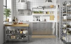 Stunning Ikea Kitchen Storage Design Ideas, If it is possible to realize your storage that is sure to be true in a little kitchen then you would like it to be as good-looking as possible. On occ. Stainless Steel Kitchen Design, Industrial Kitchen Design, Ikea Kitchen Design, Interior Design Kitchen, Kitchen Decor, Dirty Kitchen, Bakery Kitchen, Home Bakery, New Kitchen