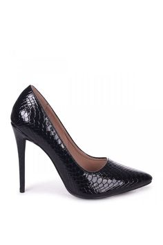 c75a187bf8 Linzi Aston Black Lizard Patent Classic Pointed Court Heel - Linzi from  Little Mistress UK Court