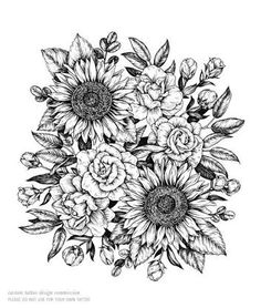 sunflower tattoo black and white - Google Search