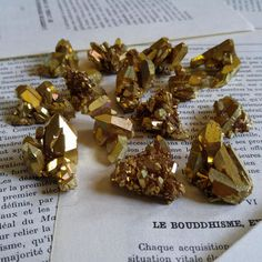 Gold aura quartz gold infused aura quartz cluster gold aura