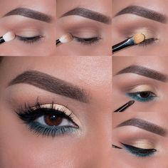 Beautiful pale gold with a pop of teal photo tutorial by Ely Marino. CLICK for full details on products used and how to recreate this lovely look!