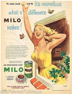 AUSTRALIAN Vintage Advertising MILO NEW DESIGN LABEL NESTLE'S 1950's Original Ad
